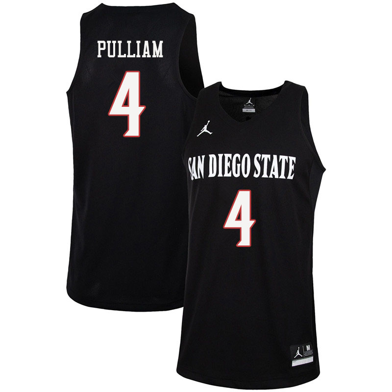 Jordan Brand Men #4 Trey Pulliam San Diego State Aztecs College Basketball Jerseys Sale-Black